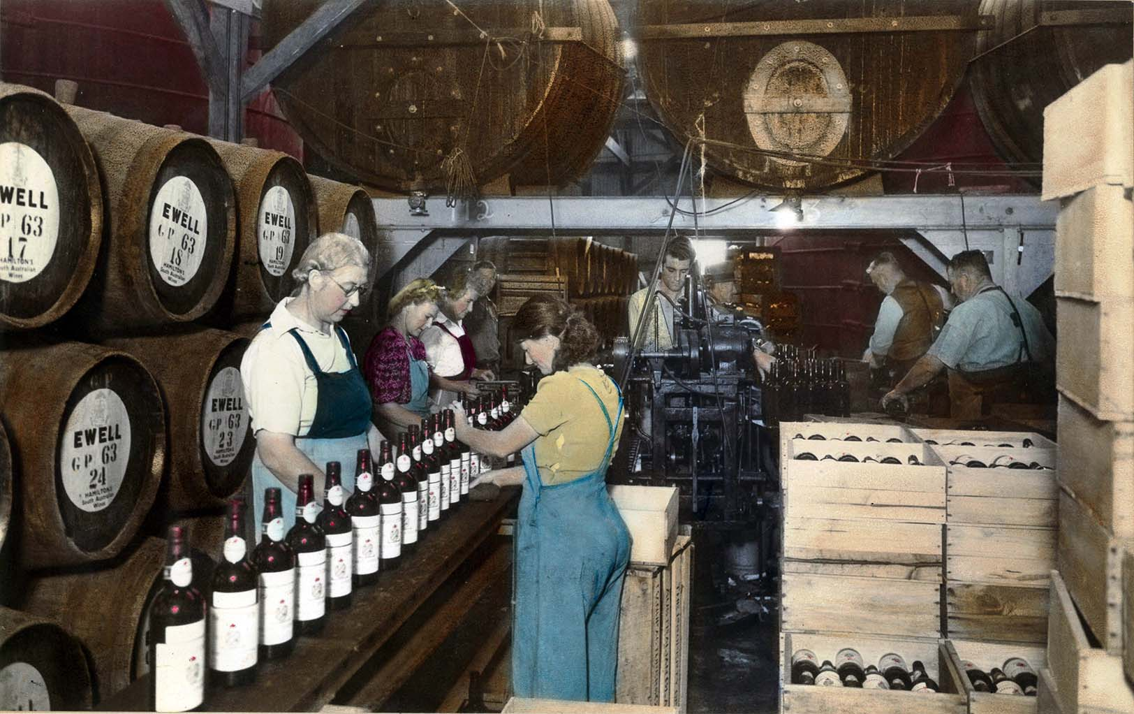Bottling Line at Hamiltons Ewell Winery c1947