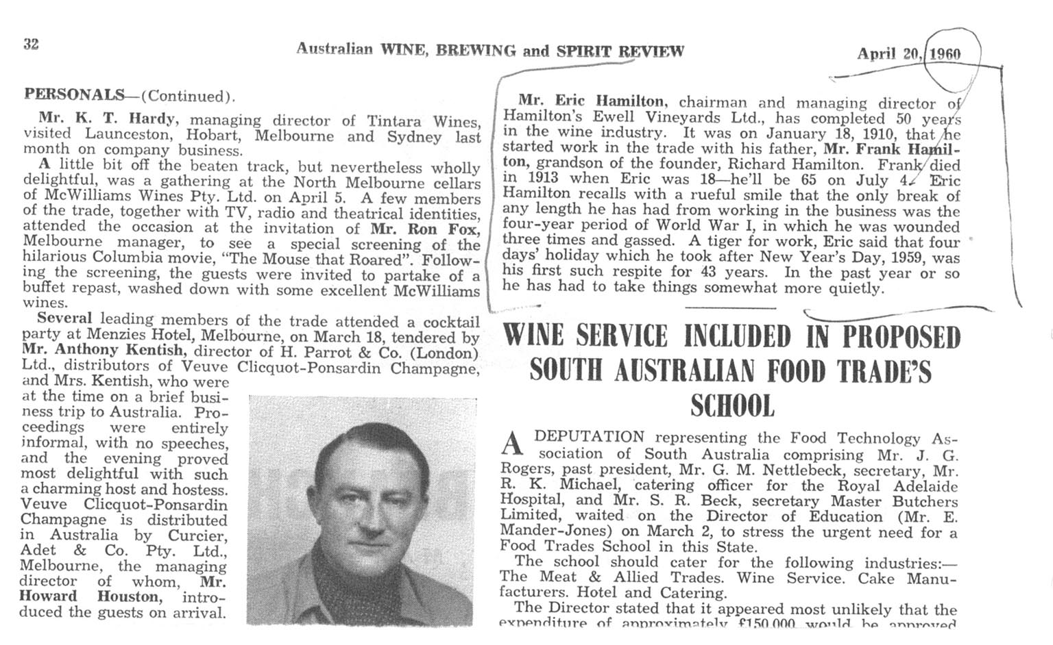 Eric Hamilton 50yrs of Service April 1960