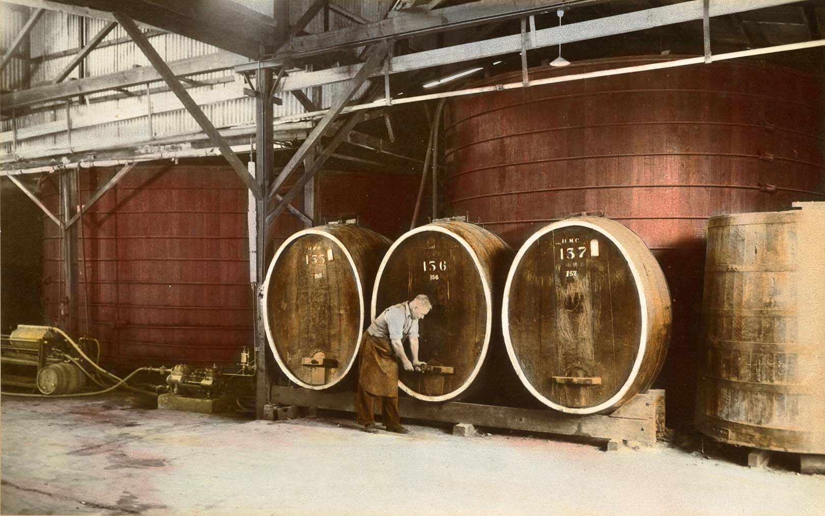 Storage Vats at Hamiltons Ewell Winery 1960s