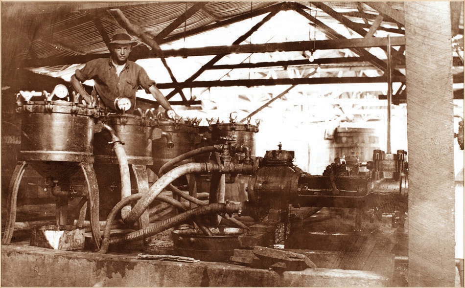 Worker with Machinery at Hamiltons Ewell Winery 1950s