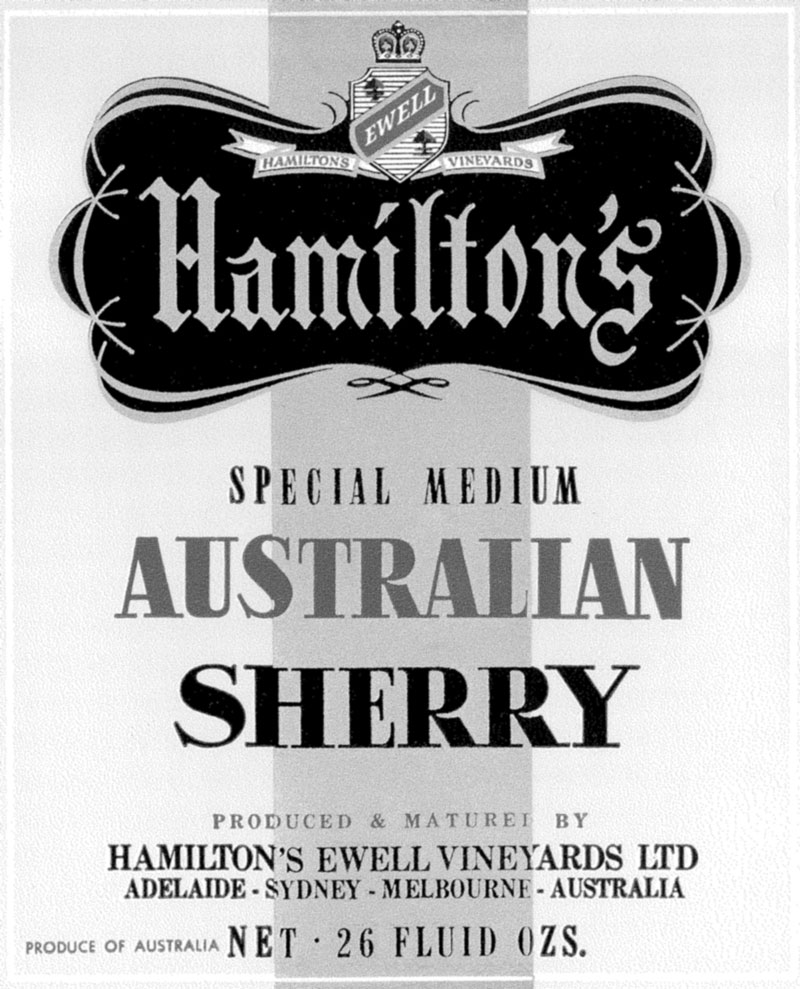 Hamiltons Australian Sherry Label