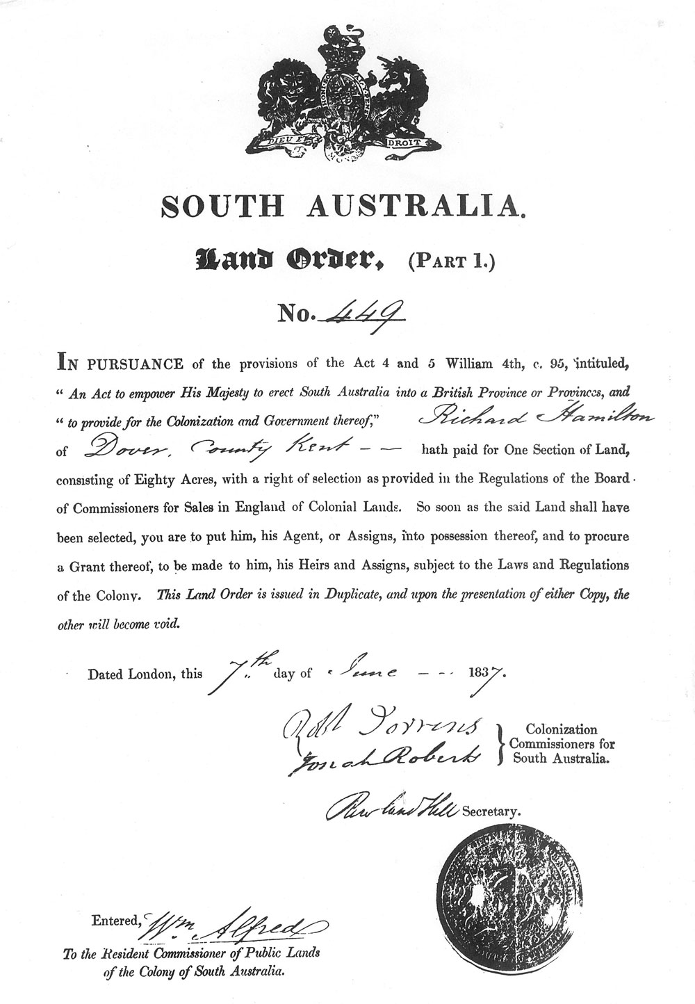 Richard-Hamilton-SA-Land-Order-1837